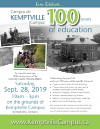 Kemptville Campus Celebrates 100 Years of Education - Open House Saturday, September 28, 2019