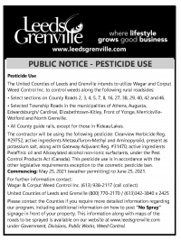 United Counties of Leeds and Grenville Public Notice - Pesticide Use